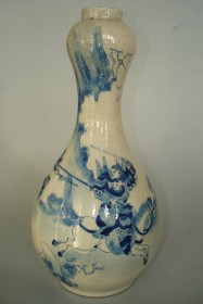 #0101   Chinese 17th Century Transitional Style Garlic Necked Vase **Price on Request**