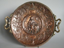#0046 Renaissance Style German Copper Plaque by Gustav Grohe 1829-1906