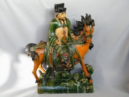 #0375  Fine Very Rare Ming Celestial Horse & Rider Ridge Tile **Sold**  to Taiwan - Sepember 2013 售至台湾 - 2013年 9月