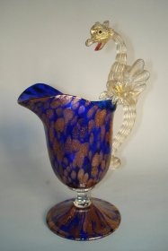 #0006  Venetian Dragon Handled Jug by Toso or Barovier c1900  **Sold**  to USA - April 2009 售至美国 - 2009年4月