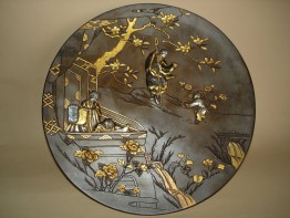 #0163 Rare Meiji Japanese Bronze Plaque - Signed **Sold** through our Liverpool shop -
