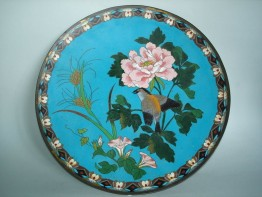 #0161  Japanese Cloisonne Enamel Plaque - Meiji Period (1868-1911)  **Sold**  to USA