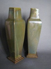 #0403 Signed Pair of Art Nouveau Rambervillers Lustre Vases with Gilt Bronze Stands, circa 1905-1910   450