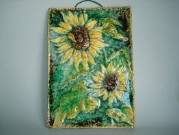 #0809  German Karlsruhe Sunflower Tile or Plaque - circa 1960s, **SOLD** May 2019