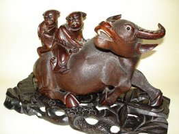 #0105 Large Carved Chinese Hardwood Buffalo and Stand - Gangxu Reign (1875 -- 1908) **Sold**  to USA December 2007 售至美国 - 2007年12月