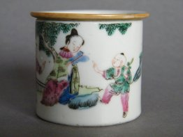#0302 Chinese Porcelain 'Famille Rose' Cosmetic Pot c1865-1900 **Sold** Through our Liverpool shop