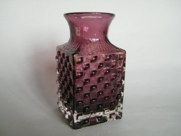 "#0003  Rare 'Aubergine' Whitefriars Glass ""Chess"" Vase - 1972  **SOLD**  in our Liverpool shop"