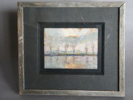 "#1137  Oil on Board ""Sunset at Hammersmith"" by Piero Sansalvadore (1892-1955)  **Sold** in our Liverpool Shop - December 2015 / 利 物浦店内售出 - 2015年12月"
