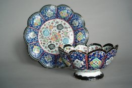 #0152  Qajar Style Persian Enamel Bowl and Stand circa 1850 -1950 *Sold* to Belgium - January 2009 售至比利时 - 2009年1月