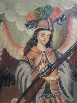 #1662  17th / 18th Century Style Oil on Canvas - Arquebusier Angel, circa1990s **Sold**  August 2018