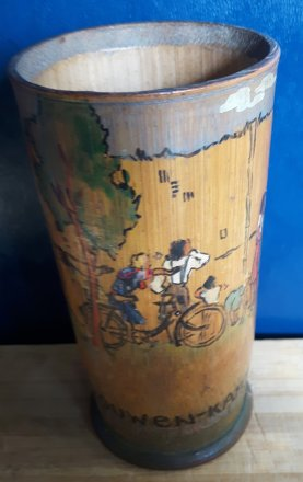 #1764 Important Documentary Dutch P.O.W. Painted Bamboo Pot, dated July 1943