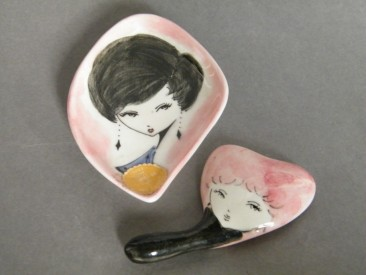 #1412 Hand Painted 'Pin Dish' and Mirror from Italy, circa 1960