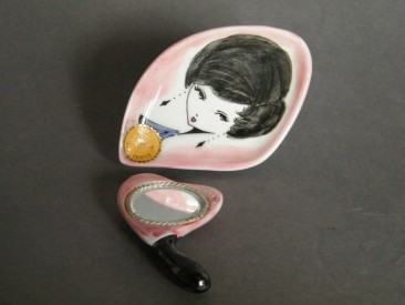 #1412 Hand Painted 'Pin Dish' and Mirror from Italy, circa 1960  **Sold**  January 2019