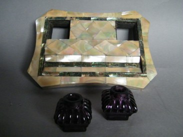 #1678   Mother of Pearl Deskstand & Penrest, circa 1890-1910