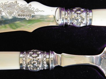 #1442  Victorian Silver Plated Ivory handled Fish Servers