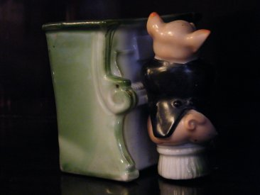 #1737  Pig Musician Souvenir of Ellesmere Spill or Cigarette Holder, circa 1890 - 1914  **Sold** September 2018