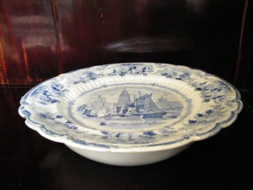 "#1733  Liverpool  Herculaneum Pottery Warming Plate, ""Liverpool from the Seacombe Slip"", Circa 1830  **Sold** September 2018"