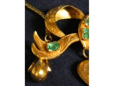 #1081 Victorian Gold and Emerald Pendant on Gold Chain, circa 1860 **SOLD** through our Liverpool shop December 2016