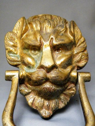 #1698 Antique Gilt Brass Lion Door Knocker, 19th Century