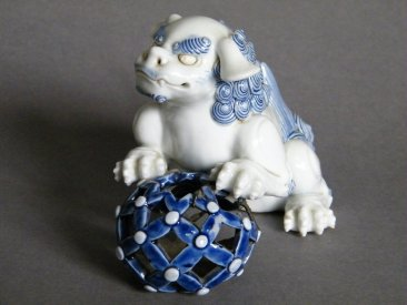 #1498 Rare Pair of Hirado Porcelain Shishi / Lions from Japan, Edo Period circa 1820-1850