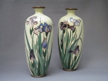 #1767  Pair of Cloisonne Enamel Vases  from Japan, Meiji Period (1868-1911)  **Sold** May 2019