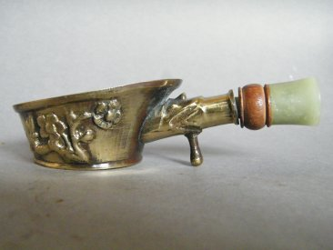 #1778  Small Chinese Export Brass & Nephrite Jade Silk / Lace Iron, circa 1900-1920