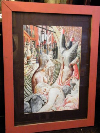 #1820  Surrealist Style Painting, Acrylic on Board, circa 1980s - 1990s