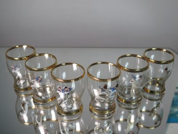 #1586  Boxed Set of Art Deco Dancing Sailors Shot Glasses, circa 1940s - 1950s