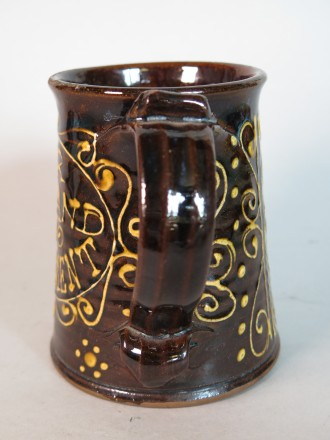 "#1634  Rare Slip Decorated Tankard ""For God And Parliament"""