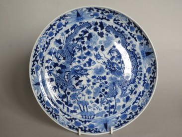 #1597 Pair of Chinese Porcelain Dragon and Phoenix Dishes, 1875-1908   **SOLD** to U.S.A. December 2017