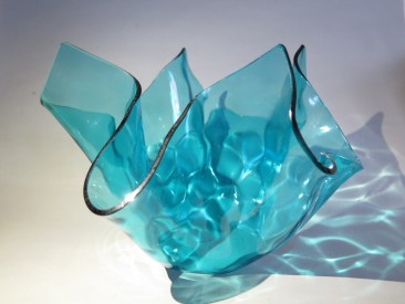 #1518  Large Chance Brothers Glass Handkerchief Vase, circa 1969
