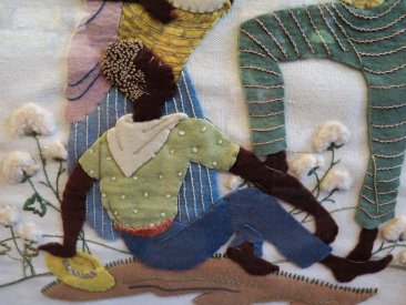 "#1702  Applique ""Cotton Pickers"" Firescreen, circa 1920s - 1930s"