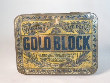 #1553  Gold Block Tobacco Tin (with tobacco), circa 1910 - 1920)  **Sold**  May 2018
