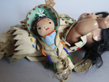 #1590   Rare Native American Doll with Papoose, circa 1950s