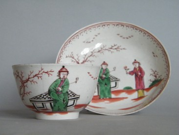 #1618  Liverpool Porcelain (Shaws Brow) Tea Bowl and Saucer, circa 1790