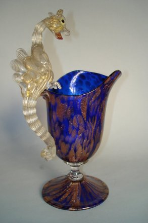#0014  Venetian Salviati  Dragon Handled Jug by Toso or Barovier, circa 1895-1914,   **Sold** to USA - April 2009 售至美国 - 2009年4月