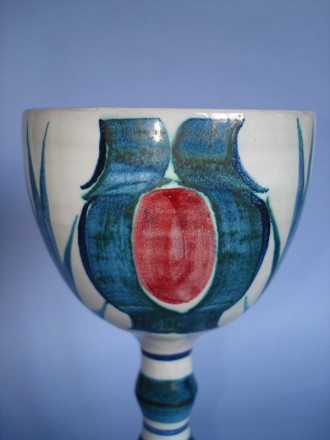 #0099  Large Tin-Glazed Studio Pottery Goblet by Ian Caiger-Smith  **Sold**
