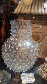 "#1763 Large Victorian ""Hobnail"" Blown Glass Water Jug by Hobbs & Brukunier (U.S.A.), circa 1886  **SOLD**  October 2019"