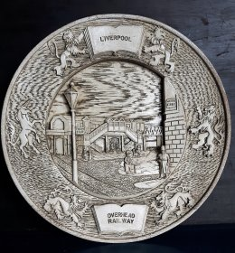 #1816  Liverpool Overhead Railway Commemorative Resin Plaque, circa 1987 **Sold** December 2020