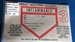 #1805  World War Two Great Western Railway Inflammable Liquids Truck / Wagon Label, circa 1941