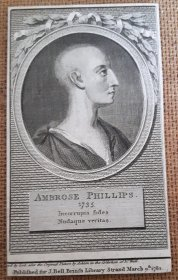 #1830  18th Century Ambrose Philips  Book Plate, circa 1782