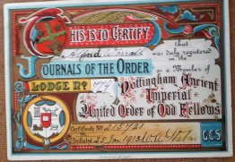 #1835 Nottinham Ancient Imperial United Order of Odd Fellows Certificate (1913) **SOLD** April 2021