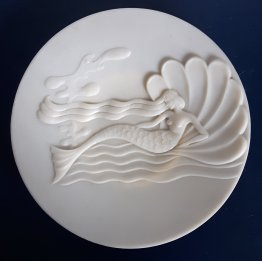 #1859 Post War Art Deco Plastic Mermaid and Shell Dish, circa 1945 / 1946