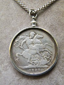 #1677   Silver 1889 Queen Victoria Crown Pendant **SOLD**   May 2018
