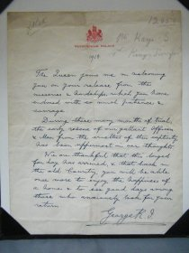 #1696   Hand Written Letter from King George V to Former Prisoner of War, 1918   **Sold**
