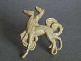 #0670 1920s or 1930s Faux Ivory Art Deco Plastic Brooch **SOLD**