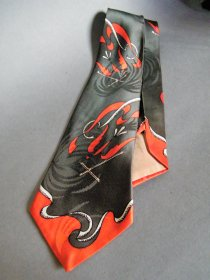 "#1774   1940s  Art Deco Satin ""Towncraft DeLuxe"" Tie from U.S.A.  **SOLD** February 2020"
