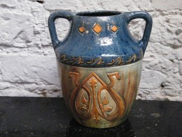 #0903  Arts & Crafts Style Twin Handled Vase, circa 1890 - 1910 **SOLD** September 2017