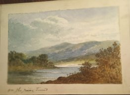 "#1864 Small Victorian Watercolour Paintng ""on the River Tweed"" signed H.M., dated 1895"