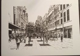 "#1862   Engraving ""Church Street Liverpool 1974"", signed Crane"